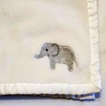 Carter's White Fleece ELEPHANT Blanket Satin Trim 30x40 Unisex Lovey Soft - $19.79
