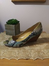 Nine West Snake Print Wedge Shoes Size 8.5 Open Toe 3 Inch Wedge - $14.03