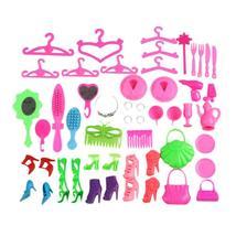 40Pcs/Set Barbie Doll Accessories Shoes Bags Glasses Hanger Hair Clip Ch... - $11.99
