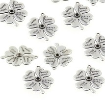 Charms Lucky Clover Antique Silver Pewter Pendant DIY Jewelry Accessory ... - $15.83