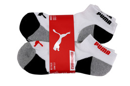 Puma Men's 6 Pack Low Cut Cushioned Sport Athletic Gym Moisture Control Socks