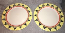 2 Homer Laughlin Yellow Orange Blue Triangles Round Chop Plate China Pla... - $29.69