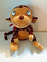 Hallmark Monkey Plush Stuffed Animal Brown Tan X O XOXO Red Ribbon Bow - $10.12
