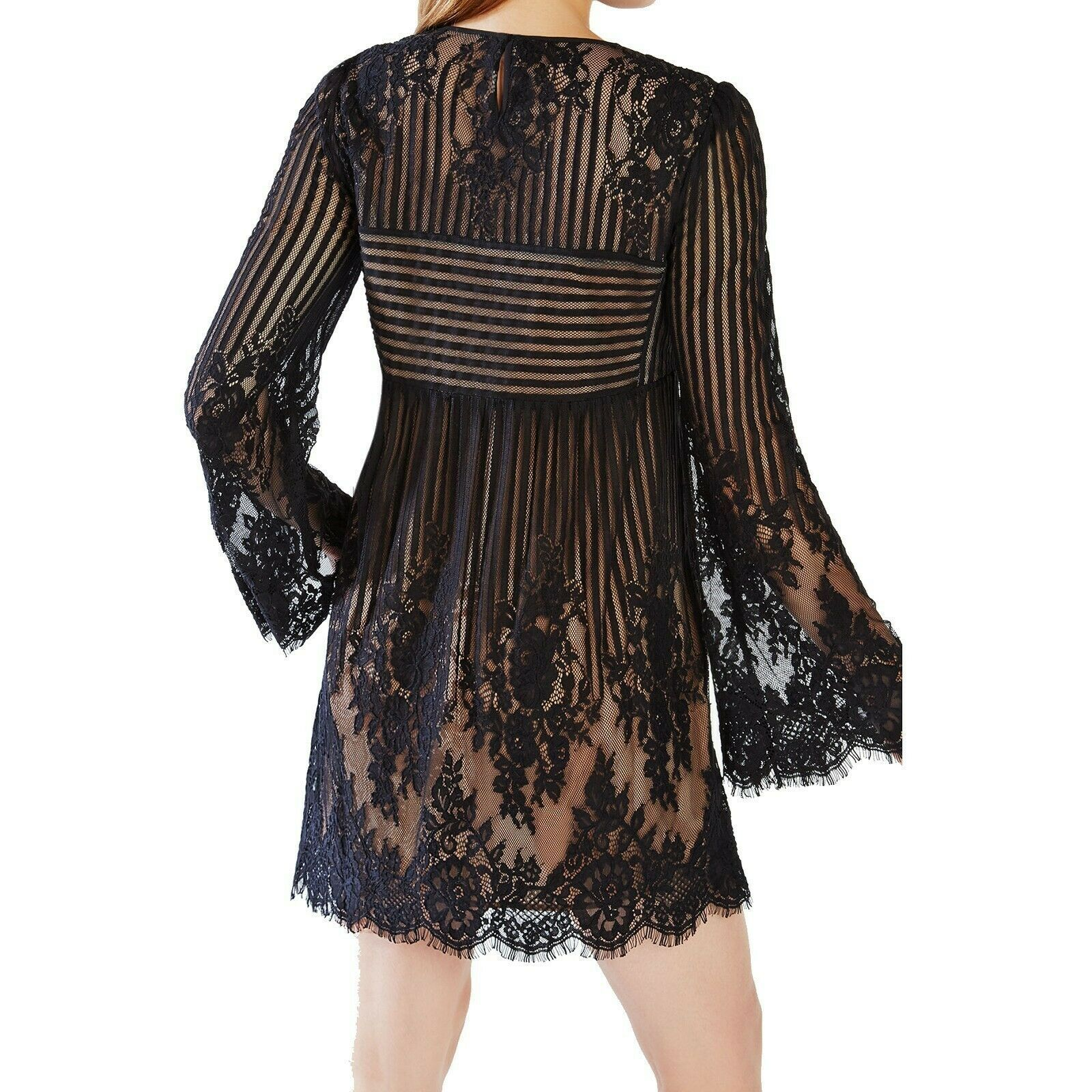 BCBG MAXAZRIA Black Luann Floral Stripe Lace Bell Sleeve Babydoll Mini Dress XS