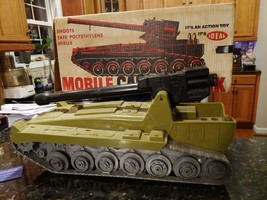 Vintage Mobile Cannon Tank By Ideal With Box Army Toy Military GI - £110.95 GBP