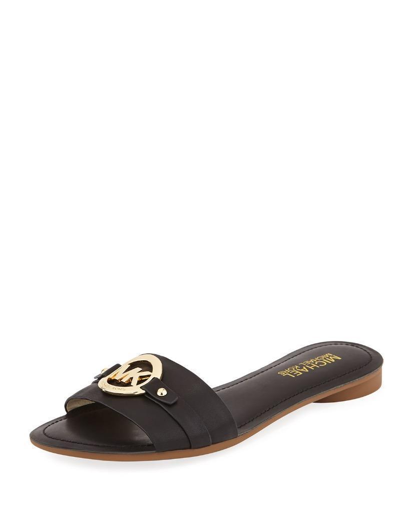 New Michael Kors MK Women's Molly Slide Open Toe Leather Slides Sandal Black