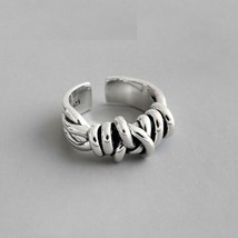 David Yurman Signet 925 Sterling Silver Women Ring Vintage Twist Band Resizable  - $26.99