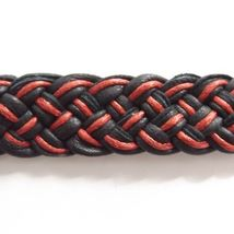 BLACK RED LEATHER WOVEN TIE ON FRIENDSHIP BRACELET WITH ABALONE SHELL CORAL DISC image 3