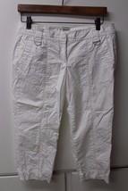W11210 Womens Ann Taylor Loft White Crop Petite Casual Pants Size 4P - $28.93