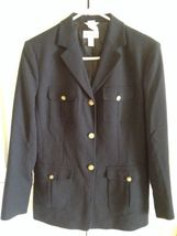 Talbots Navy Wool Blazer Lined Nautical Buttons Professional Career Sz 6 EUC image 3