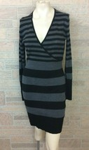 Ann Taylor Loft Sweater Dress Small Black Gray Stripe Wool Faux Wrap - $19.79
