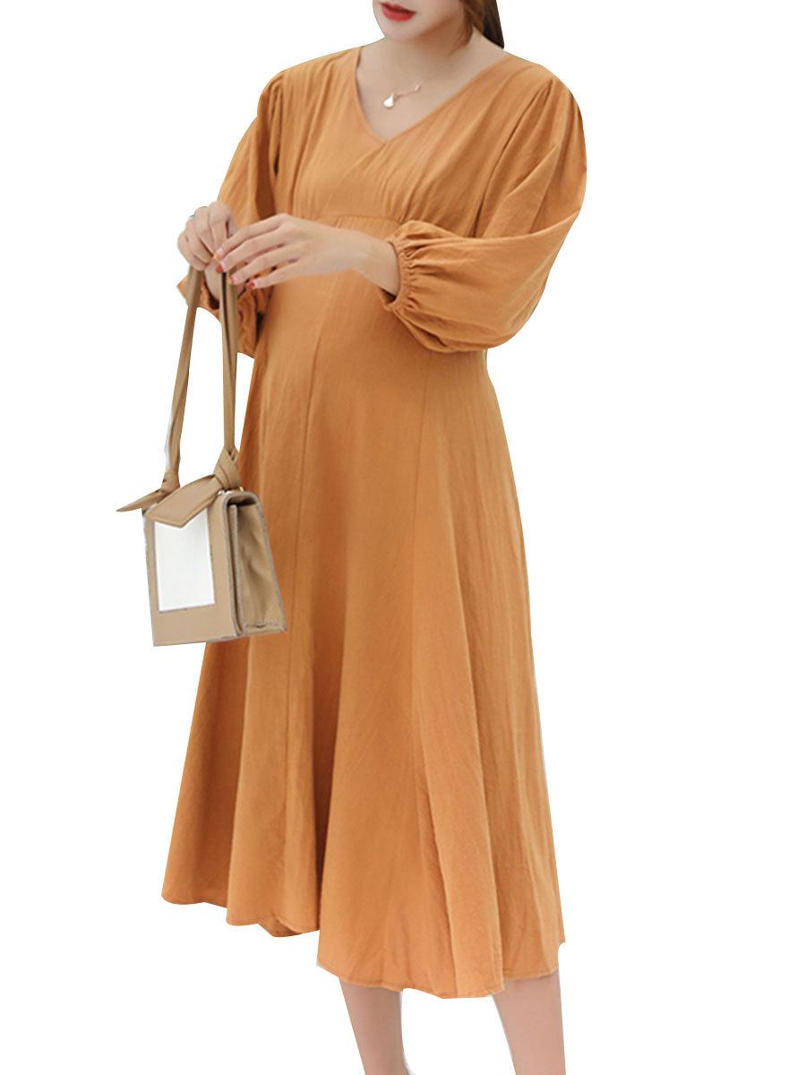Maternity's Dress V Neck Long Sleeve Solid Color Ladylike Dress
