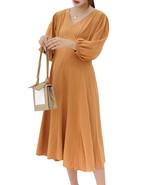 Maternity's Dress V Neck Long Sleeve Solid Color Ladylike Dress - $35.99