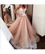 Sweetheart Long Prom Dresses White Applique,A-Line Evening Formal Dress,... - $189.00