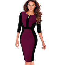 Nice-forever Contrast Patchwork Bodycon Sheath Female Dress B409  - $40.00