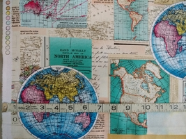 1/2 yard Map of the World maps cotton quilt fabric -free shipping image 7