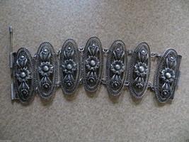 """Antique Victorian /Edvardian 800-900 silver Filigree link Bracelet  7.5 """" - $249.99"""