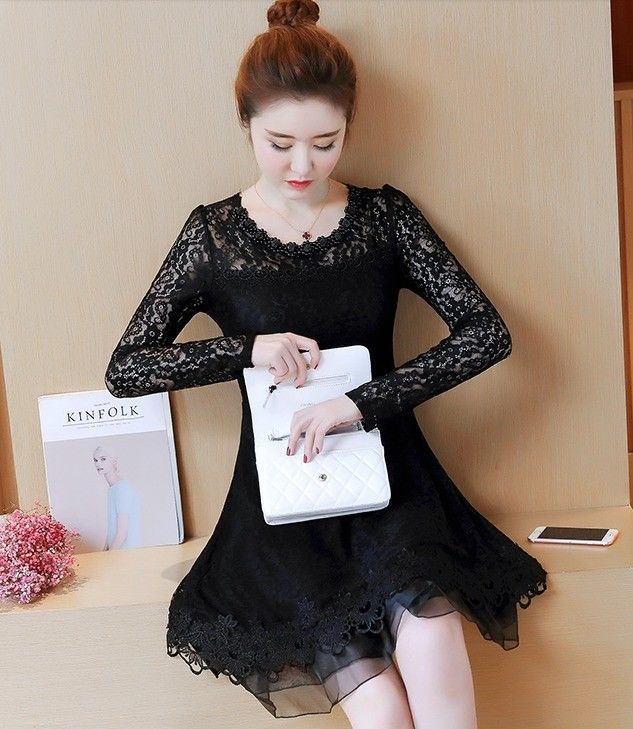Chic 2018 Long Sleeve A-line Hollowed Out Beaded Casual Autumn Fall Lace Dress