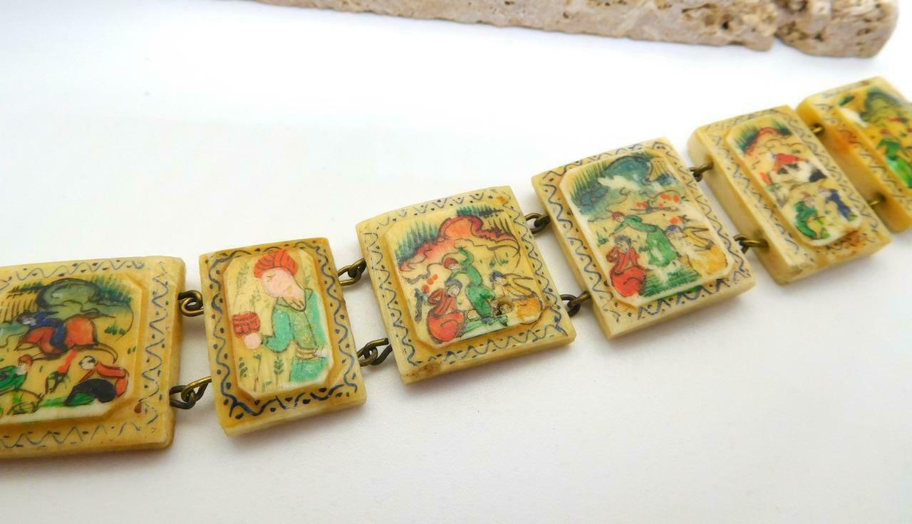 Vintage Hand Painted Oxen Bone Persian Story Panel Bracelet N24 image 4