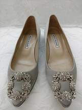 Authentic Manolo Blahnik Hangisi Silver Grey Satin Crystal Flats 37 6.5 ... - $450.00