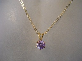 18 Kt GP Necklace with Lavender Cubic Zirconia Stone   #FJW202 - $17.99