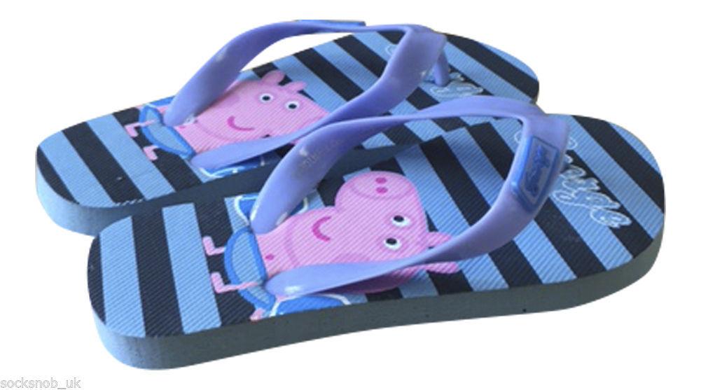 1 Pair Of Girls Peppa Pig Flip Flops Pink Summer Shoes Blue Orange /& Yellow