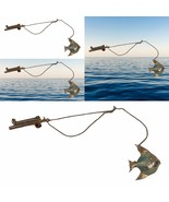 Vintage Fishing Rod And Dangling Fish Brooch Patent Double Pin Rhinestone - $27.71