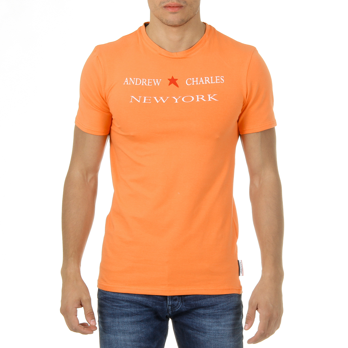 Primary image for Andrew Charles Mens T-Shirt Short Sleeves Round Neck Orange KEITA