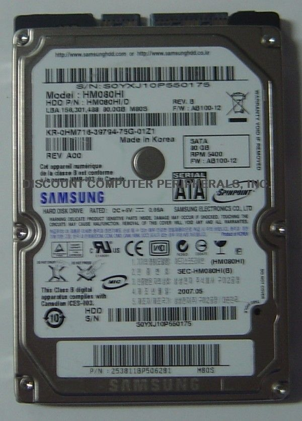 Samsung HM080HI 80GB 2.5in SATA Drive Tested Good Free USA Ship Our Drives Work
