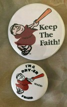San Diego Padres baseball Keep the faith Pins buttons  vintage lot of 2 ... - $9.89
