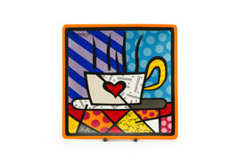 Romero Britto Square Side Plates 3 Designs Available Dolomite Vibrant Color image 4