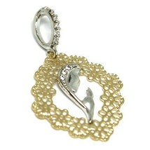 Pendant Medal, Yellow Gold White 750 18K, Virgo Mary Jane, with Frame, Flowers image 2