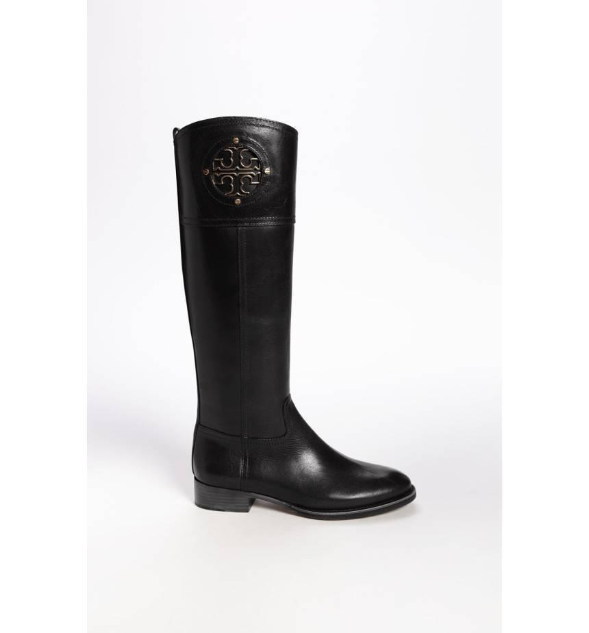 589453b36c94  495 Tory Burch Kiernan Riding Boots Tall Flat Equestrian Booties 5.5 Gold  Logo