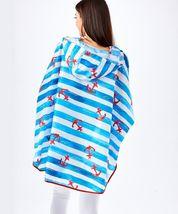 Nautical Compact Rain Poncho w Bag - Polyester Raincoat Waterproof w Hood Blue image 3