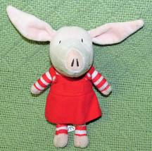 "7"" Olivia Pig Stuffed Doll Spin Master Plush Red Dress Stripe Stockings 2010 Toy - $11.88"