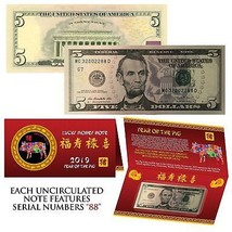 2019 Lunar Chinese New YEAR of the PIG Lucky U.S. $5 Bill w/ Red Folder - S/N 88 - $37.36