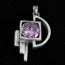 Abstract Sterling silver Pendant with a Sparkling round cut Pink CZ high... - $33.00