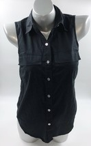 Michael Kors Sleeveless Top Size Small Black Button Up Collared Cotton Womens - $17.42