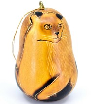 Handcrafted Carved Gourd Art Siamese Cat Kitten Kitty Ornament Handmade in Peru image 1