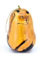 Handcrafted Carved Gourd Art Siamese Cat Kitten Kitty Ornament Handmade ... - $16.82