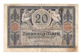 Germany German Empire 20 Mark 1915 Reichsbanknote banknote Ser. G . 5168260 - $6.77