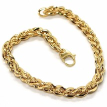 18K YELLOW GOLD BRACELET, BRAID, ROPE, THICKNESS 6 MM, TWISTED, SHOWY, WAVY - $621.00