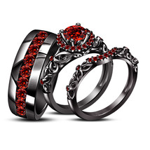 Unisex Engagement Trio Ring Set Black Gold Over 925 Silver Round Cut Red Garnet - £111.14 GBP