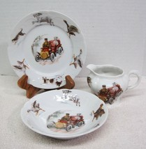 Antique Car w Driver & Woman Goat Goose Dog Chicken Childrens Dish 3PC Set  - $64.35