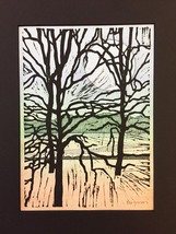 """Woodblock Print: Riverside Variation 2 (Limited Edition) Matted to 8"""" x 10"""" - $25.00"""
