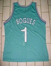 Muggsy Bogues #1 Charlotte Hornets NBA Champion 90s Teal White Purple Jersey 44 - $79.19