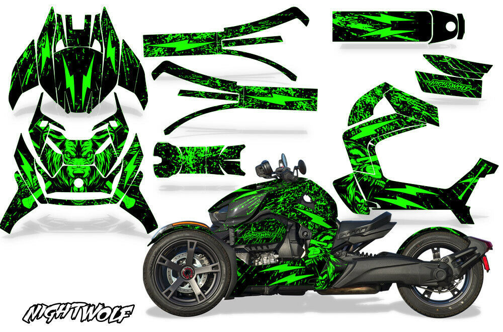 Full Body Wrap Graphic Sticker Decal for Can-Am Ryker 2019 - Nightwolf Green