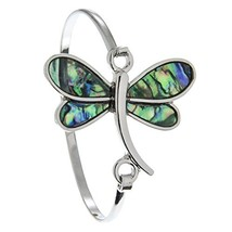 PammyJ Silvertone Imitation Abalone Dragonfly Bangle Hook Bracelet - $24.09