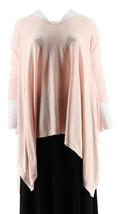 Martha Stewart V-neck 3/4 Slv Poncho Sweater Pink Dogwood XL/1X NEW A303263 - $36.61