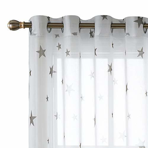 Deconovo White Sheer Curtains 63 Inch Length Grommet Star
